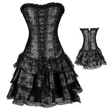 Steampunk Clothing Corset Top Bustier Overbust Gothic Sexy Lingerie Basque Dress