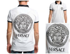 MEN VERSACE MODERN POLO SHIRT SHORT SLEEVE SIZE S WHITE COLOR FREE SHIPPING