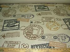 """~BTY~""""PASSAGES POSTAL STAMPS"""" LINEN UPHOLSTERY FABRIC FOR LESS~"""