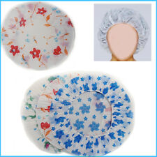 Re-usable Shower Caps 3pcs Set Clear Plastic Bath Head Cover Cap Flower Printed