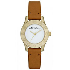 NEW MARC JACOBS MBM1219 BLADE MINI GOLD CASE BROWN LEATHER STRAP WOMEN'S WATCH