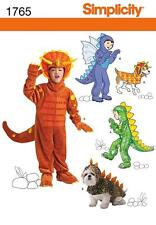 SIMPLICITY SEWING PATTERN Child's dinosaur and dragon costumes size 3-8 1765