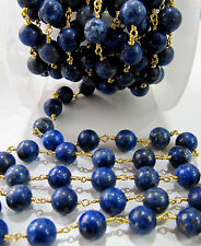 6 Feet Lapis Lazuli 8-9mm Round Beads Rosary Chain Gold Plated- AAA Best Quality