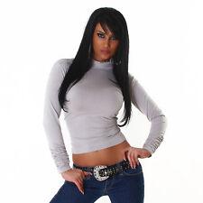 Basic Shirt Pullover Rollkragen mit Raffung Rollkragenpullover Grau 34 36 38