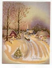 Vintage Gibson Christmas Greeting Card Glitter Horse & Carriage Village