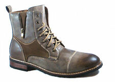 NEW FASHION CAP TOE WINGTIP MEN HIGH ANKLE BOOTS COMBAT MILITARY STYLE
