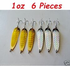 6 Pieces 1oz Casting Spoons 3 Gold & 3 Silver Fishing Lures Crocodile Spoons