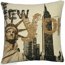 """NEW YORK CITY STATUE OF LIBERTY TAPESTRY COTTON VELVET THICK CUSHION COVER 18"""""""