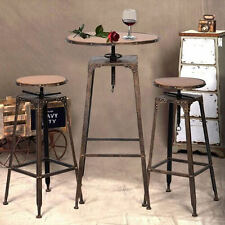 3PC Metal Bistro Set Adjustable High Bar Chair Antique Industrial Vintage Design