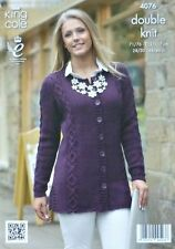 KNITTING PATTERN Ladies Long Sleeve Round Neck Long Cable Jacket DK KC 4076