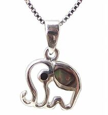 925 Sterling Silver PAUA SHELL ELEPHANT NECKLACE 18 inch Chain Pendant GIFT BOX