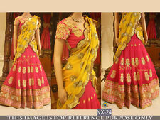 DESIGNER PARTY WEAR PINK AND YELLOW UNSTITCHED LEHENGA CHOLI