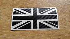 Small CARBON FIBRE Union Jack GB Car Sticker Decal Mini Jaguar Triumph Lotus TVR