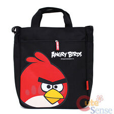 "Angry Birds Canvas Tote Bag 13"" Shoulder Bag -Red Bird in Black Rovio Licensed"