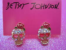 Betsey Johnson AB Crystal Pink Bow Skulls Earrings