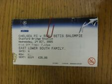 19/10/2005 Ticket: Chelsea v Real Betis [Champions League] (Crease, Folded). Tha