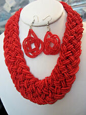 RED MULTI STRAND GLASS SEED BEAD BRAIDED NECKLACE EARRING SET