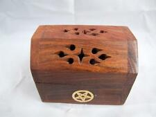 Wooden Mini Shesham Incense Cone Smoke Box with Brass Motiff.