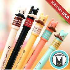Lot 5x Cute Kawaii Fun Mustache Vintage Life black 0.5mm Gel ink Ball Point Pen