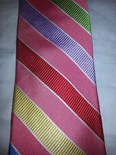 346 Brooks Brothers necktie tie Pink Purple Yellow Red Stripe 100% Pure SILK EUC