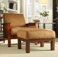 Mission Style Chair & Ottoman Oak Mocha Brown Room Furniture Accent Chairs Rust