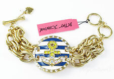 BETSEY JOHNSON 'Ship Shape' Anchor Nautical Medallion Gold-Tone Toggle Bracelet