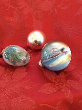 Exceptional Lot Three (3) Vintage Collection Delicate BALLS Christmas ORNAMENTS