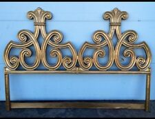 Hollywood Regency Style Cast Iron Gold Gilt King Size Headboard Vintage