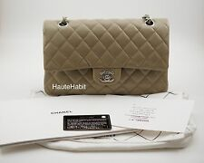 CHANEL TAUPE DARK BEIGE CAVIAR QUILTED CLASSIC MEDIUM LARGE FLAP BAG SILVER HW
