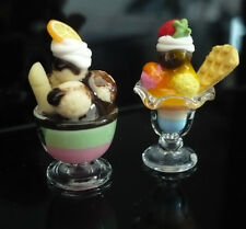 Set of 2 Ice Cream Sundae in Glass Dollhouse Miniature Food Supply Deco-ICEF