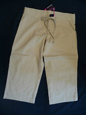 "BNWT 9"" LOW RISE 3/4 LENGTH LINEN TROUSERS IN THE COLOUR:  STONE SIZE 10"