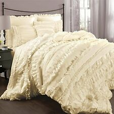 CHIC RUFFLES IVORY ** Queen ** COMFORTER SET : CREAM COTTAGE RUFFLED BEDDING