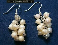 FRESHWATER EARRINGS natural cultured baroque round pearl dangle earrings fj068