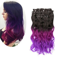 Natural Black To Violet Purple 8pcs Dip Dye Ombre 3 Tone Clip In Hair Extensions