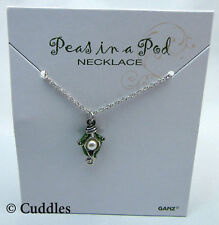 One 1 Pea In A Pod Pearl Green Enamel Mom Babies Ganz Metal Silver Necklace NEW