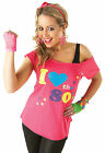 I LOVE THE 80s Ladies Outfit - Fancy Dress Costume Neon Vest Tutu Gloves 80's