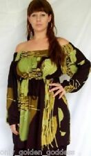 black lime blouse top peasant art to wear M L XL 1X 2X ONE SIZE ZL982