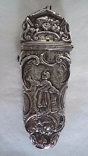 GEORGIAN / FRENCH c1820 SOLID SILVER ETUI / SEWING INSTRUMENT CASE
