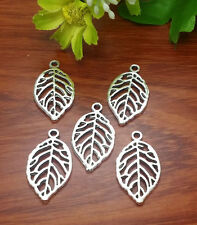 6pcs Tibet Silver Leaves Charm Pendant Fit for Bracelet Necklace Fitting 26x16mm
