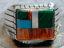 Men's Silver Turquoise Spiny Oyster Inlay Ring Ray Jack Size 11 1/2