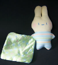 "Fisher Price Baby Rattle BUNNY Rabbit with Striped Blanket 6.5"" tall Toy Lovey"