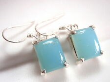 Blue Chalcedony Earrings Drop Dangle Rectangle 4-Prong 925 Sterling Silver New
