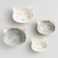 Happy Cat Ceramic Measuring Cups, Set of 4! White & Grey! Kitchen Tool! New!