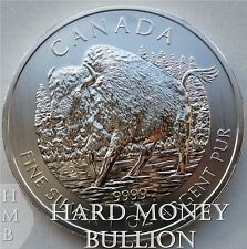 2013 1 oz *BU* Silver Wood Bison Canadian Wildlife Series $5 Canada Coin