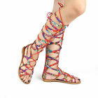 New Floral Gladiator Sandals Knee High Lace Up Tie Flat Roman Women's Shoes