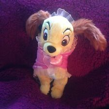 "Disney Babies Lady and the Tramp  Dog Plush 10"" With Light Purple  Lovey Blanket"