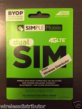 SIMPLE MOBILE MICRO MINI DUAL SIM CARD UNLIMITED T-MOBILE NETWORK FITS LG