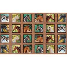 Horse Panels Quilting Fabric - 24 Panels (12cm Sq) - Wild Wings Endless Summer