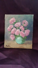 Unframed Painting of a Bouquet of Pink Mum Flowers n a Vase Signed Bode