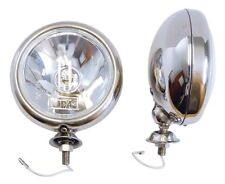 "Pair Chrome Halogen Spot Lamps 5"" Universal Classic Kit Car Triumph Mini etc"